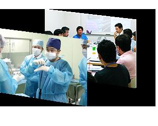 美容外科や大学病院の形成外科のドクターらを対象に、豊胸技術のトレーニングを行っています。