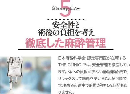 Factor 5 安全性と術後の負担を考えた安心の麻酔管理   麻酔科専門医が在籍するTHE CLINIC では、安全管理を徹底しています。体への負担の少ない最新の静脈麻酔法で、リラックスして施術を受けることが可能です。もちろん途中で麻酔が切れる心配もありません。