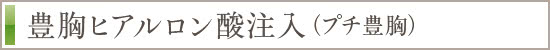 豊胸ヒアルロン酸注入(プチ豊胸)